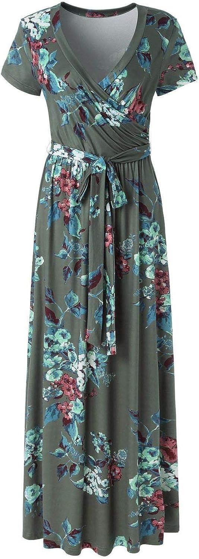 Casual V-Neck Short Sleeve Maxi Floral Tea Dress for Women