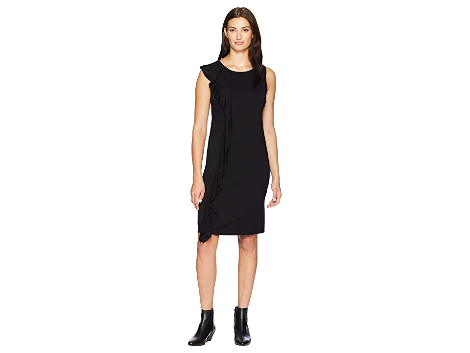 Three Dots Refined Jersey Ruffle Dress (Black) Women