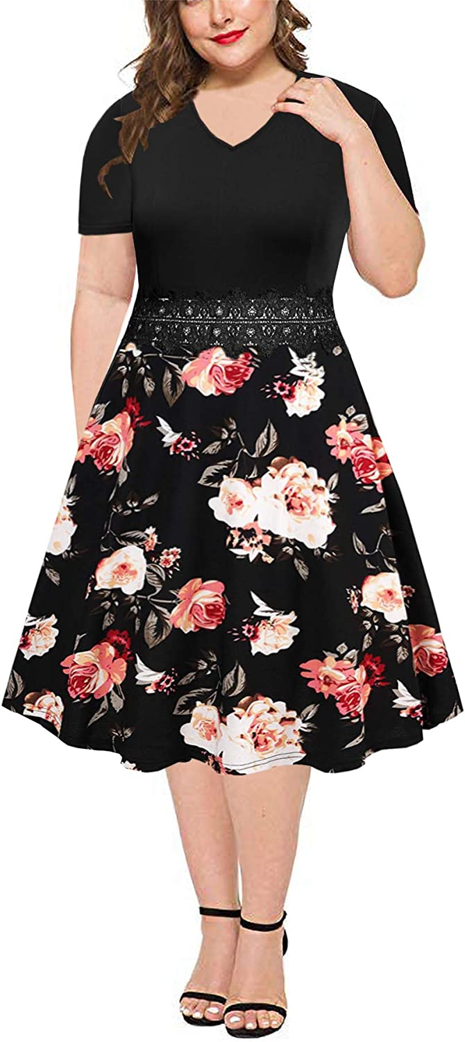 BEDOAR Women's Elegant Lace Embroidery Plus Size Flared A-Line Swing Casual Party Cocktail Dresses with Pockets