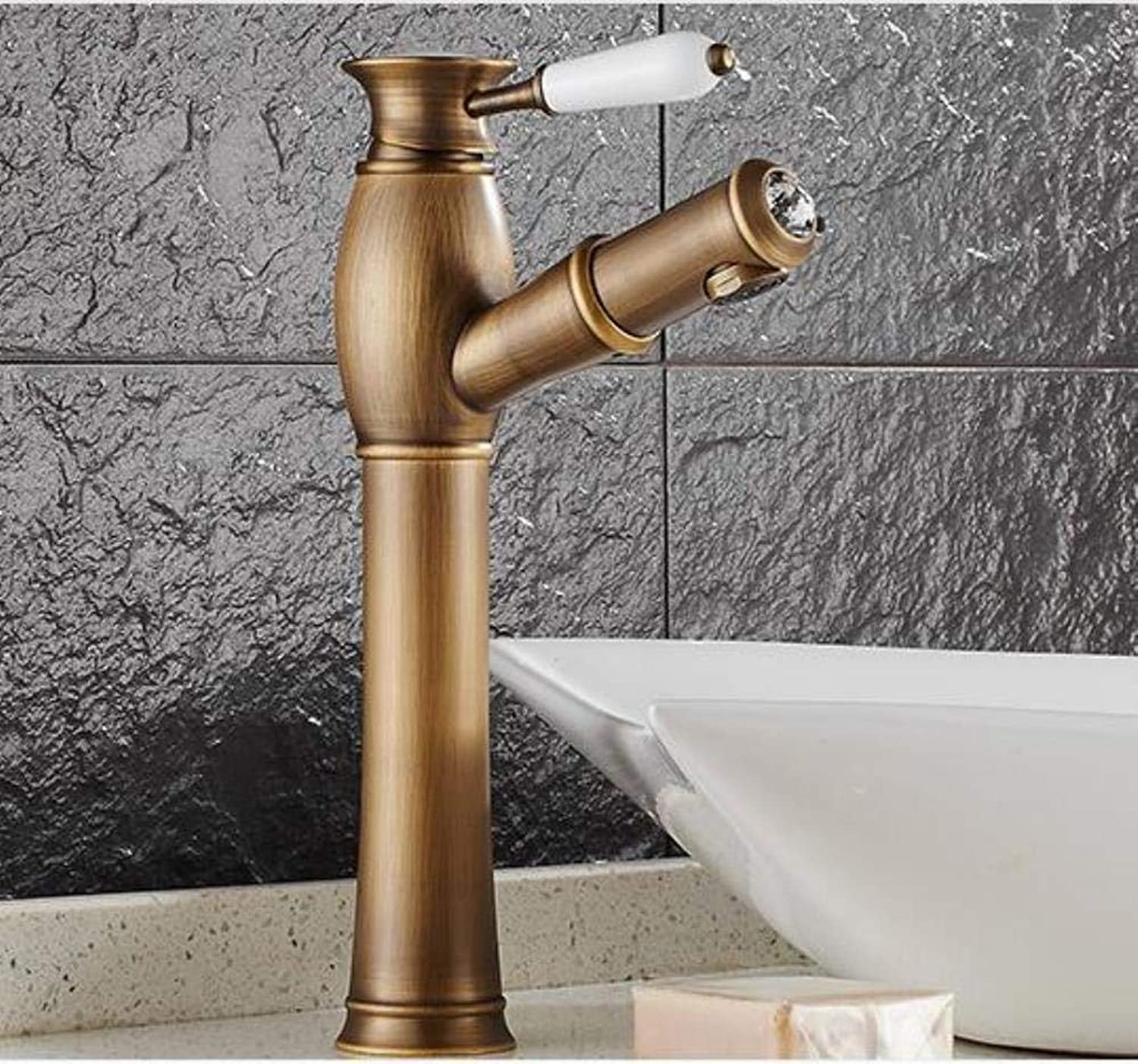 Kai&Guo brass hot and cold antique bronze finish bathroom pull out basin faucet bathroom faucet sink tap with pull out shower head style,tall