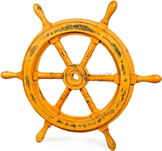 Nagina International Nautical Handcrafted Wooden Ship Wheel - Home Wall Decor (18 Inches, Antique Brown)