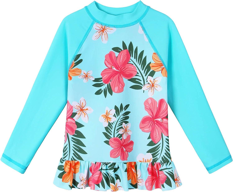 TFJH Cheap mail order specialty store E Girls Swim Shirt UV Rashguard Washington Mall 1pcs Sleeve 50+ Long