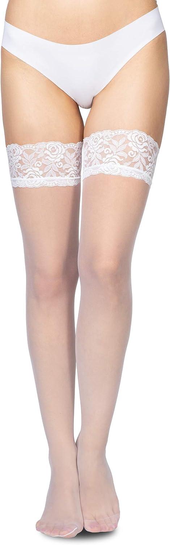 Annes styling Calze 20 deniers pour femme Bas avec dentelle Tenir la cuisse Collants Silicone Top