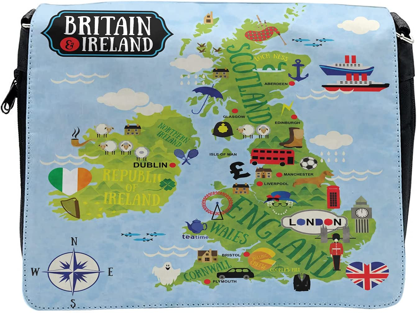 Ambesonne Cartoon Cross Body Messenger Bag, Maps of Britain Ireland, Unisex