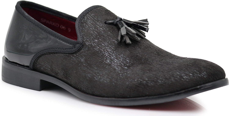Enzo Romeo Harell05 Men's Vintage Velvet Dress shoes Classic Tuxedo Slip On Loafers