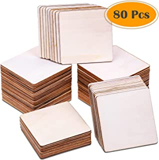 80Pcs Wood Burning Pieces, Selizo Wood Burning Kit with 4 x 4 Inch Unfinished Wood Squares Crafts Tiles Blank Wooden Slices for Wood Burning Coasters Painting Carving