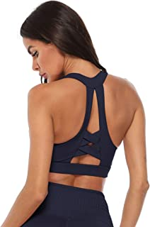 ulsfaar Women High Impact Padded Support Strappy Active Workout Running Gym Crossover Sports Bra