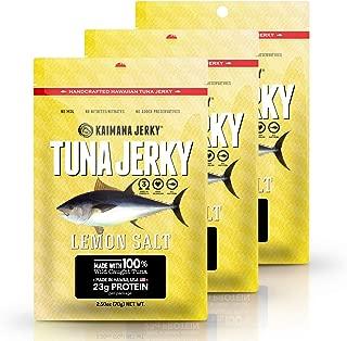 Kaimana Wild-Caught Ahi Tuna Jerky - Lemon Salt   Rich in Omega-3s & High in Protein   All-Natural & Organic Fish Jerky (3 pack, 2.5 oz)