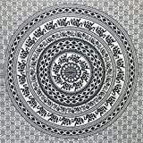 Tagesdecke Elefanten Mandala schwarz weiß 230 x 200 cm indische Decke Baumwolle Tischdecke Wandbehang