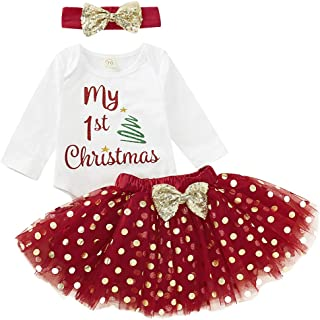 My 1st Christmas Baby Girl Long Sleeve Romper Jumpsuit Polka Dot Tulle Tutu Skirt Headband Party Outfits Xmas Costume