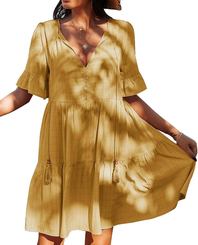 YIGC Summer Casual Mini Dress for Women:V Neck Short Sleeves Boho Ruffle Shift Cute Tunic Dresses