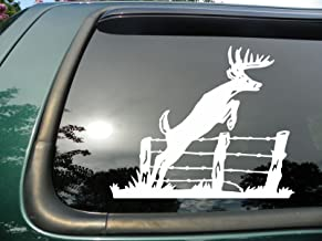 Red Clay Designs Deer Jumping Fence- Die Cut Vinyl Window Decal/Sticker for Car or Truck 5.5