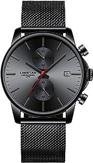 Reloj de Pulsera para Hombre, de Cuarzo, analógico, de Malla Negra, de Acero Inoxidable, Resistente al Agua, cronógrafo, F...