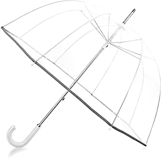 Kung Fu Smith 52 Inch Bubble Clear Umbrella for Weddings, Bulk Large Adult Windproof Dome Rain Umbrella