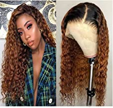 150% Density Lace Front Human Hair Wigs 8A Pre Plucked Deep Wave Curl Full Lace Human Hair Wigs Ombre Blond Color For Black Women (18 Inch , Lace Front Wig)