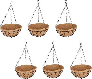 Coir Hanging with Coir Pot, Green Color (Set of 6)