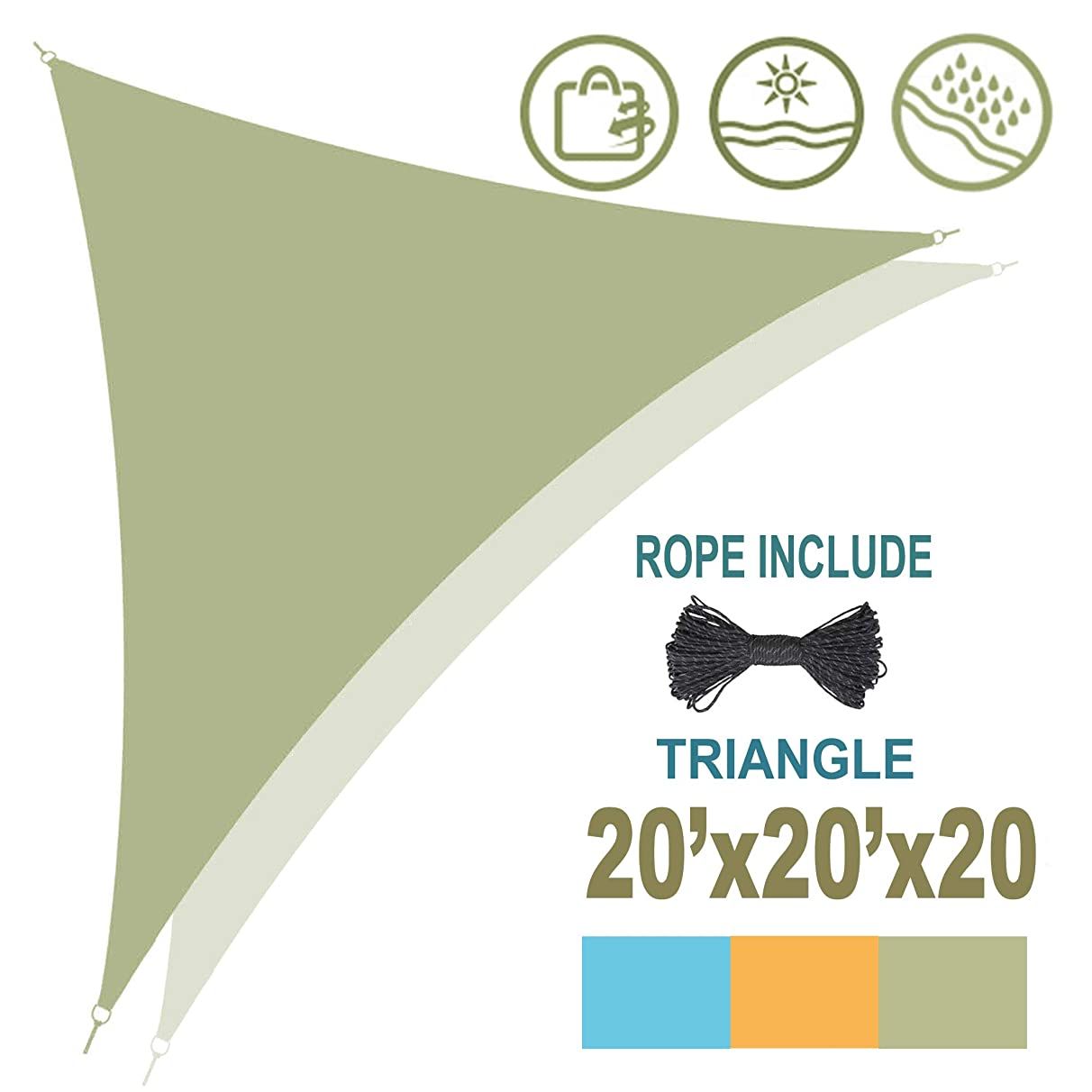 Lovinouse 20'X20'X20' Triangle Shade, Waterproof Sun Shade Sail, Silver-Coated, UV Block Fabric Canopy with Steel D-Rings & Ropes, Perfect for Outdoor Garden, Patio, Yard (Green)