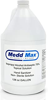 Medd Max Hand Sanitizer 1 Gallon - 99.99% Protection Against Germs - Non-Sterile Solution 75% Isopropyl Alcohol Antiseptic...