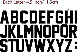 11cm Large 4.5 Inch Letters Iron On Heat Transfer Vinyl for Parade T Shirt Sports T-Shirt Jersey Football Baseball,Team,t-Shirt (Black)