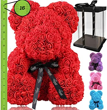 Rose Flower Bear - Large 16 inch Fully Assembled Hugz Teddy Bear - Over 200 Artificial Flowers - Gift for Mothers Day, Valent