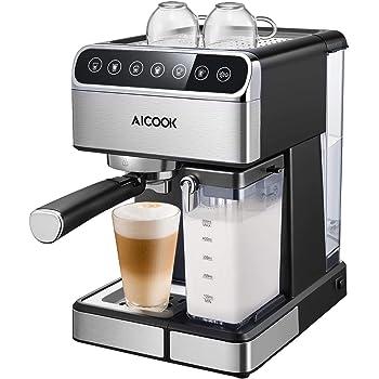 Aicok Cafetera Espresso 15 Bares, Cafetera Cappuccino y Latte, Boquilla de Espuma de Leche Profesional |