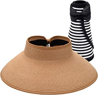 Foldable Straw Sun Visors for Women, Sun Protecetion Wide-Brimmed Sun Hats Adjustable Topless Beach Hat