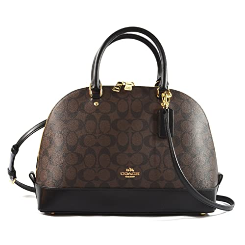 Coach Sierra Satchel Signature Coated Canvas handbag Brown Black 931cbd9e14946