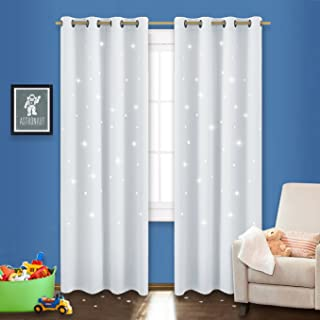 NICETOWN Stars Inspiration Curtain Panels - Sky Wonder Star Cut Out Functional Room Darkening Draperies for Bedroom/Living Room/Kid's Room, 52 inches W x 84 inches L, Greyish White, 1 Pair