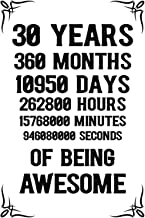30 years 360 months Of Being Awesome: 30th Birthday Notebook Journal for Men & Women, A Happy Birthday 30 Years Old Journa...