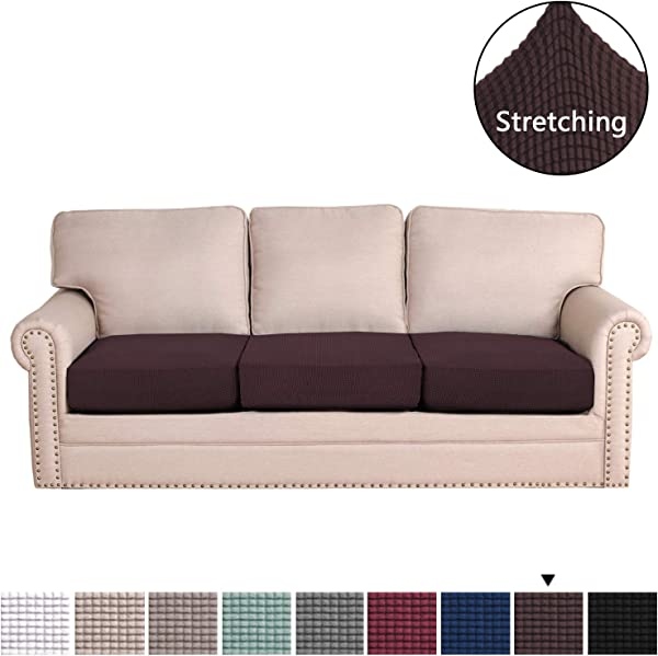 H VERSAILTEX Super Stretch Stylish Furniture Cover Cushions Covers Slipcover Spandex Jacquard Checked Pattern Super Soft Slipcover Machine Washable Individual 3 Seat Cushion Cover Chocolate