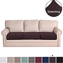 H.VERSAILTEX Super Stretch Stylish Furniture Cover/Cushions Covers Slipcover Spandex Jacquard Checked Pattern, Super Soft Slipcover Machine Washable Individual 3-Seat Cushion Cover - Chocolate