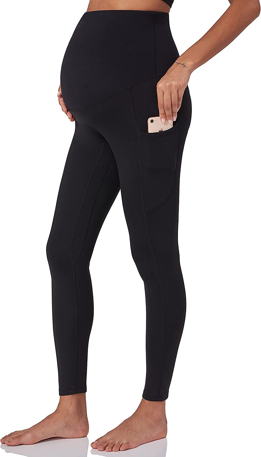 POSHDIVAH Women's Maternity Fleece Lined Leggings Over The Belly Pregnancy Winter Warm Yoga Workout Active Pants with Pockets