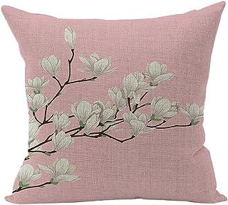 Dantazz - Funda de cojín vintage - 45 x 45 cm Retro Algodón Lino Cintura Funda de almohada Home Sofá Decoración Flores y Plantas (C)