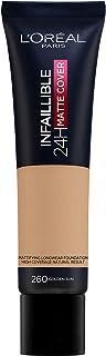 L'Oréal Infalible 24 H Matte Cover Base De Maquillaje Alta Cobertura Mate Piel Clara Subtono Dorado 260 Soleil Doré 40 g