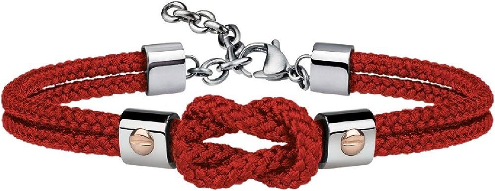 Breil, bracciale per uomo, in acciaio e cordura, con dettagli preziosi in oro 9k, rosso TJ2595A