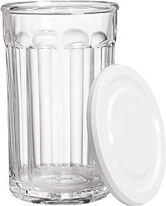 Amazon Basics Westridge 8-Piece (4 Glasses, 4 Lids) Heavy Duty Glass Drinkware and Storage Set with Lids, 21-Ounce