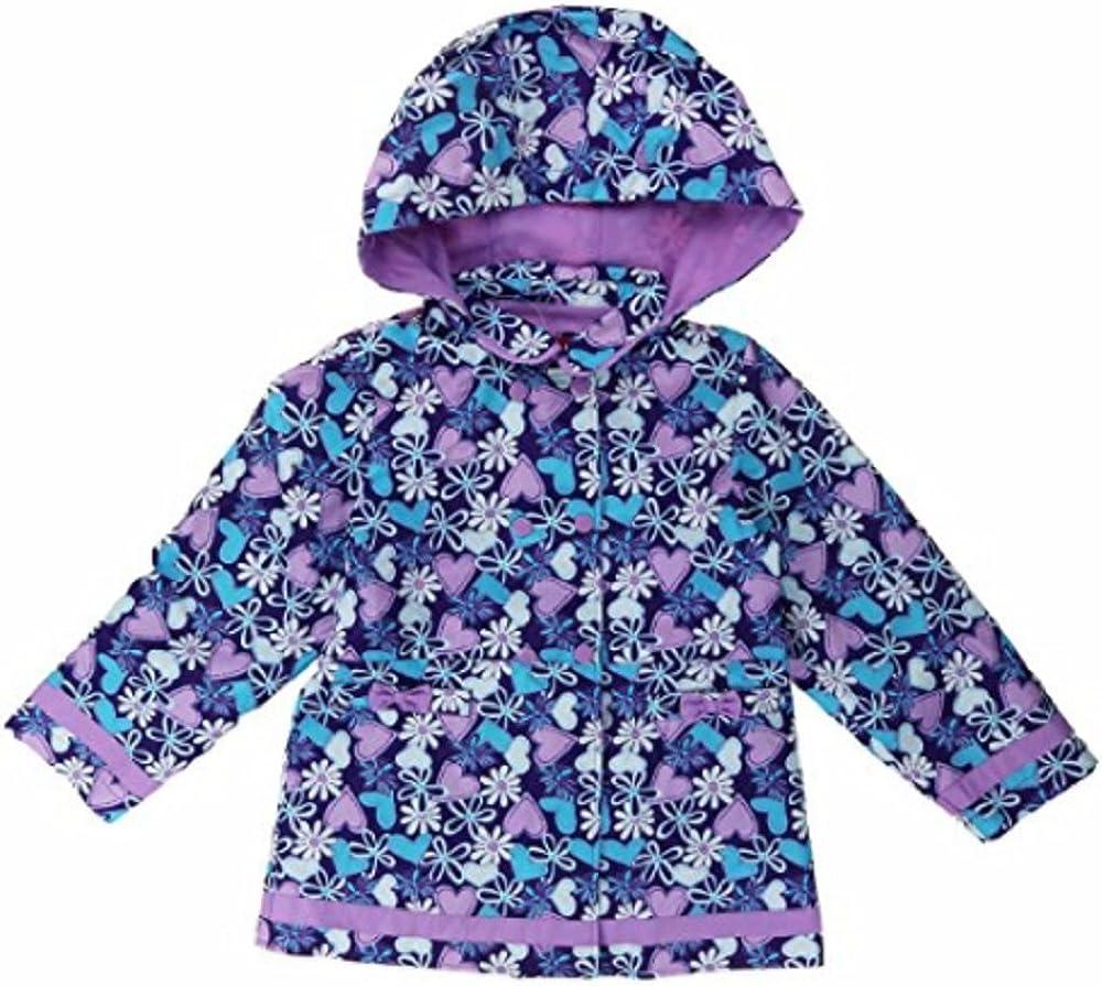 Girls Hooded Fleece Lined Peacoat Jacket (Purple Floral), 4T