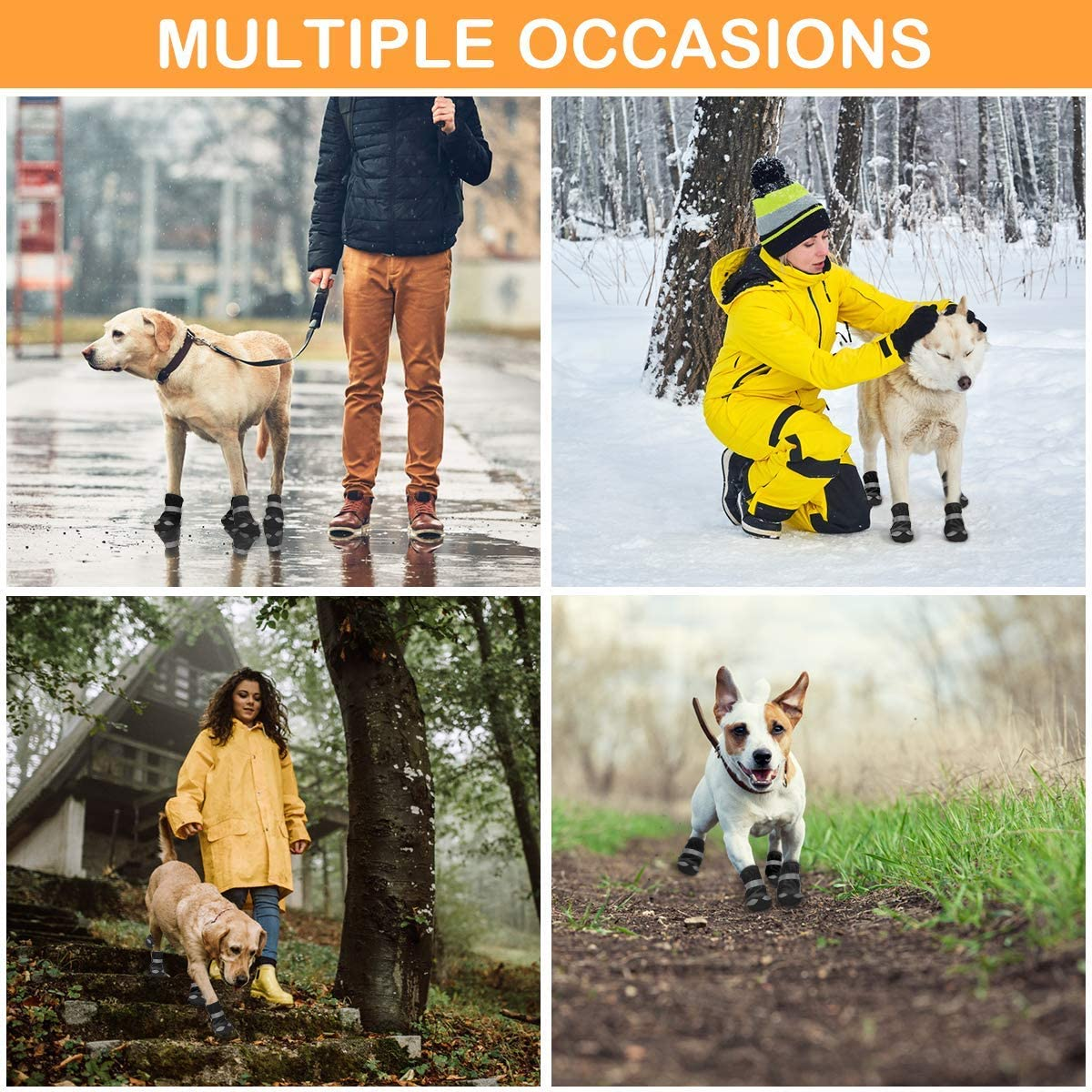 Dog Shoes Protective for Large Medium Pet Dog Socks 4PCS Anti-Slip Dog Boots Sole Paw Protector with Reflective Straps Wear-resistant Dogs Booties Sports Walking Outdoor Orange 4#