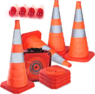 """4PC 27.6"""" Collapsible Traffic Cones with Nighttime LED Lights Pop up Safety Road Parking Cones Weighted Hazard Cones Const..."""