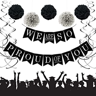 We Are So Proud of You Graduation Banner, Black and Silver Graduation Party Supplies 2019 with 12 Swirls Packs, Pom Poms Flowers, Classy Party Supplies for 2019 Graduation Decorations (33 PCS) TD015