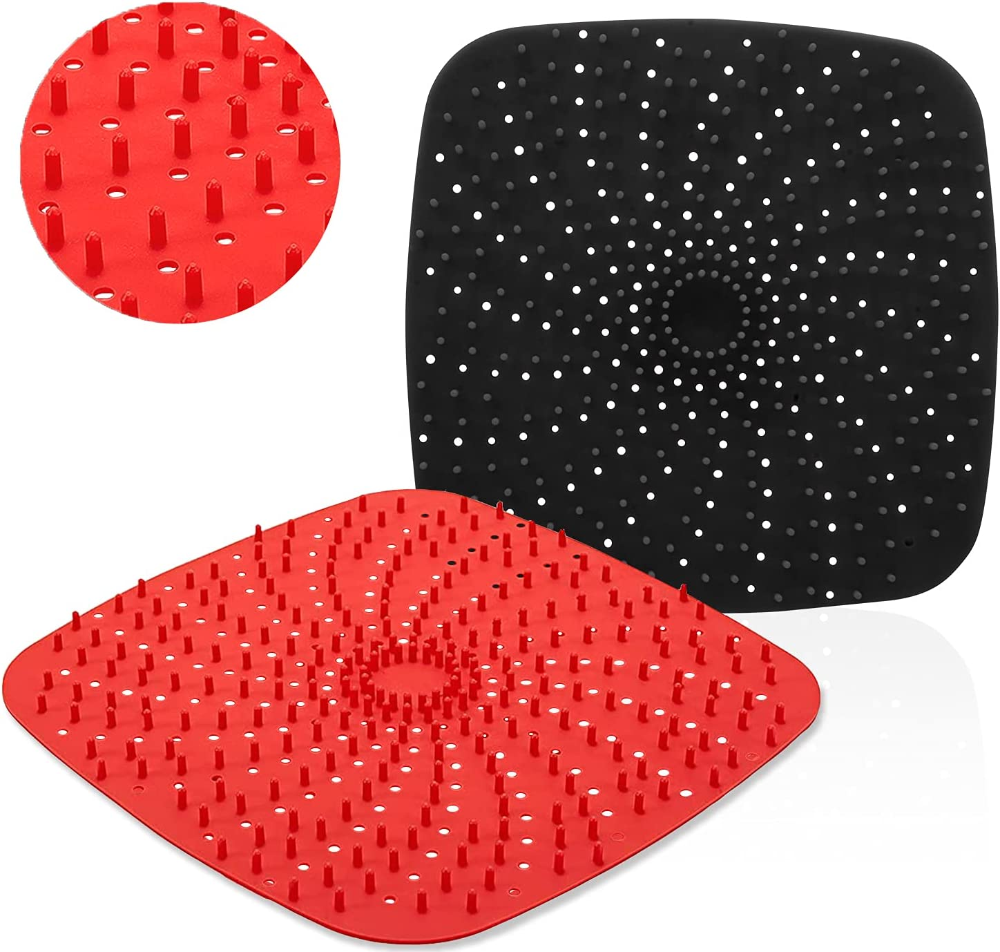 Upgrade Reusable Air Fryer Liners with Raised Silicone   Patented Product   BPA Free Non-Stick Silicone Air Fryer Mats   Air Fryer Silicone Tray Accessories   2 Size Options – 9 Inch Square
