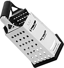 maison maison Cheese Grater - 6 Sided Stainless Steel, Best for Cheeses, Parmesan & Vegetables, Rubber Handle & Non-Slip Base