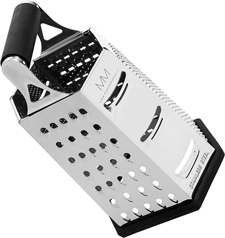 Maison Maison Cheese Grater 6 Sided Stainless Steel Best For Cheeses Parmesan Vegetables Rubber Handle Non Slip Base