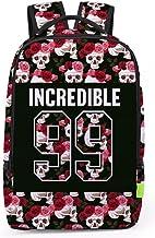 Pizoff Doulbe Mesh Padded Adjustable Shoulder Straps Cute Flowers Skull 99 Print Zipper Rucksack Travel Backpacks Y1799-37