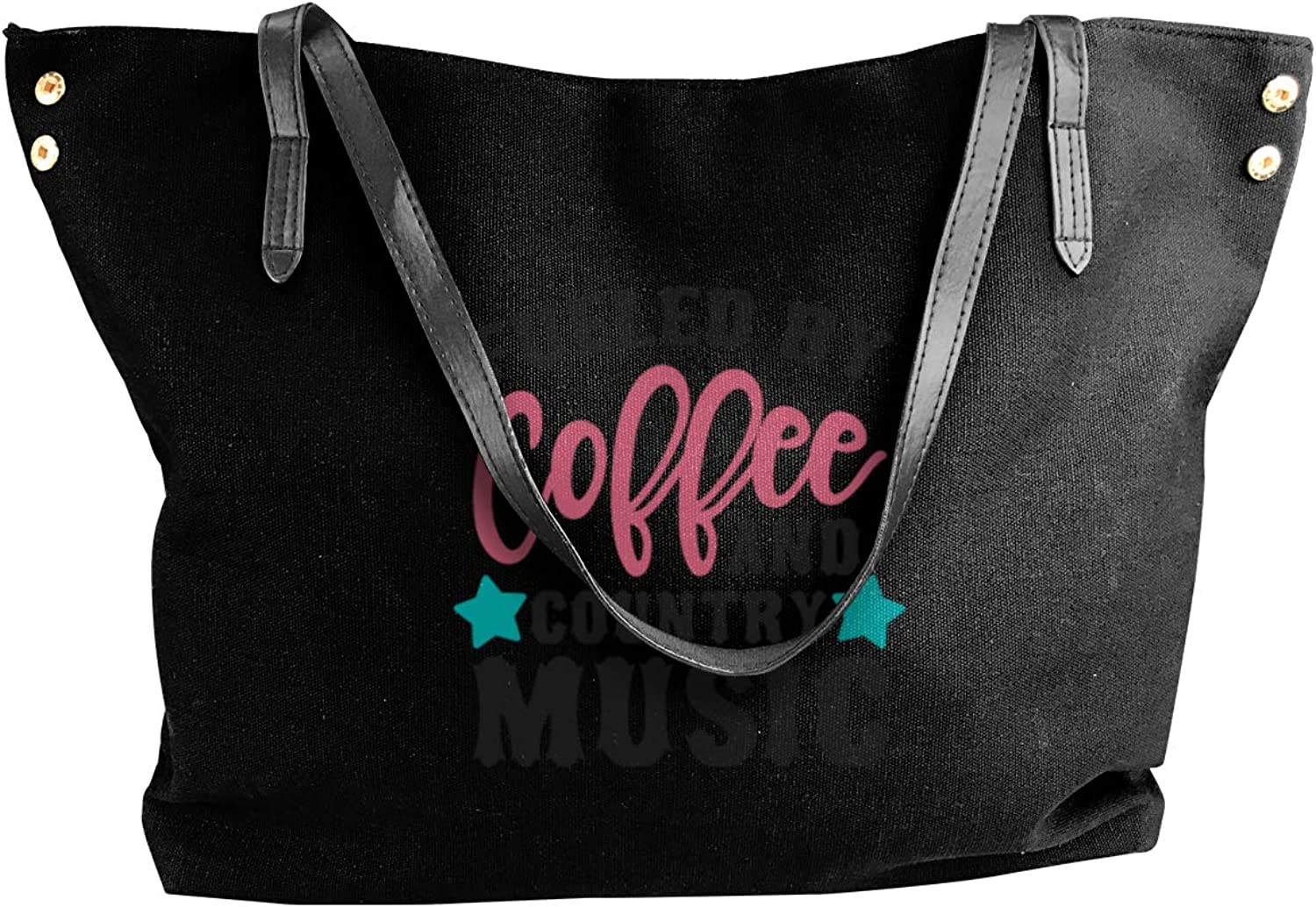 Fueled by Coffee and Country Music Women Tote Bags Canvas Shoulder Satchel Bag