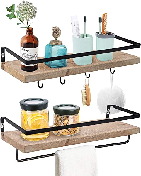 Wood Floating Shelves Bathroom Storage Shelf Wall Mounted For Kitchen Living Room Set Of 2
