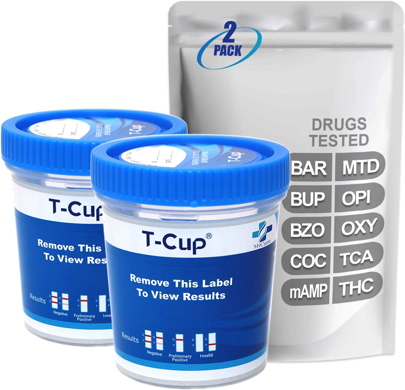 famous MiCare 2pk - 10-Panel Max 86% OFF Multi Drug Test BAR BZO Cup BUP mAM COC
