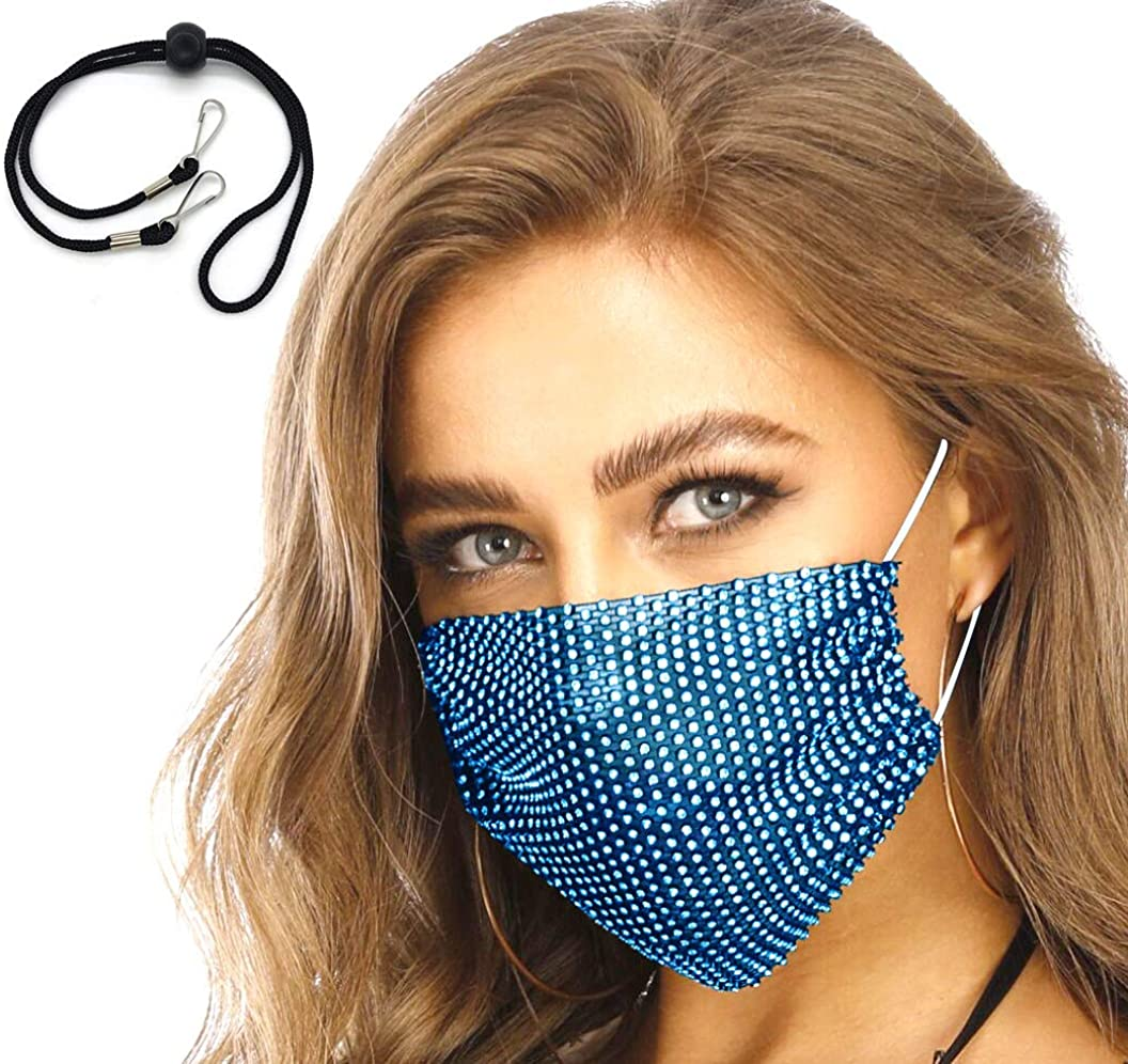 Face Cover Cotton Mask Bling Sequins Party Nightclub Halloween. Filter Pocket. Washable Reusable Adjustable