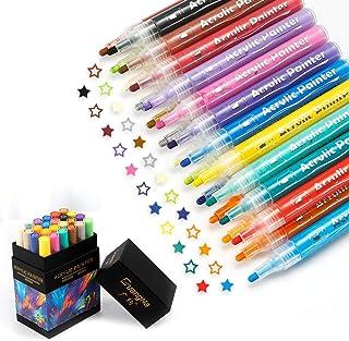 Marqueurs Peinture Acrylique, 24 Couleurs Peinture acryliques, 2-3mm marqueur Permanent pour Bois DIY Tissu Verre Roche To...