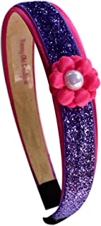Purple Glitter Headband with Pink Daisy Flower for Preschoolers and Little Girls By Funny Girl Designs